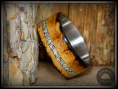 "Bentwood Ring - ""Smoked Steel"" Smoked Olivewood Ring on Titanium Core with Offset Sand Inlay handcrafted bentwood wooden rings wood wedding ring engagement"