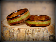 "Bentwood Rings Set - ""Smokies"" Bethlehem Olivewood Wood Ring Set with Green Turquoise Inlays - Bentwood Jewelry Designs - Custom Handcrafted Bentwood Wood Rings"