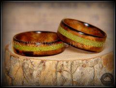 "Bentwood Rings Set - ""Smokies"" Bethlehem Olivewood Wood Ring Set with Green Turquoise Inlays - Bentwood Jewelry Designs - Custom Handcrafted Bentwood Wood Rings  - 4"