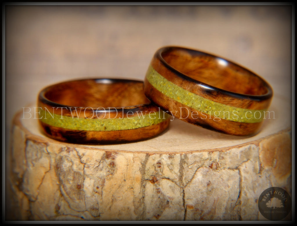 "Bentwood Rings Set - ""Smokies"" Bethlehem Olivewood Wood Ring Set with Green Turquoise Inlays - Bentwood Jewelry Designs - Custom Handcrafted Bentwood Wood Rings  - 1"