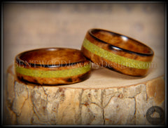 "Bentwood Rings Set - ""Smokies"" Bethlehem Olivewood Wood Ring Set with Green Turquoise Inlays - Bentwood Jewelry Designs - Custom Handcrafted Bentwood Wood Rings  - 3"