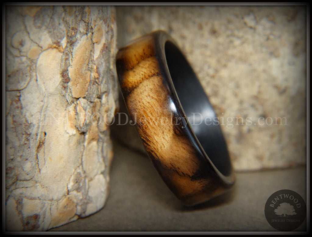 "Bentwood Ring - ""New Smokey"" Bethlehem Olivewood Smoked on Carbon Fiber Core - Bentwood Jewelry Designs - Custom Handcrafted Bentwood Wood Rings"