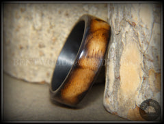 "Bentwood Ring - ""New Smokey"" Bethlehem Olivewood Smoked on Carbon Fiber Core handcrafted bentwood wooden rings wood wedding ring engagement"