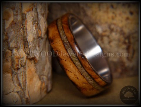 "Bentwood Ring - ""Live Smokey"" Olivewood Ring on Stainless Steel Core with Live Oak Inlay"