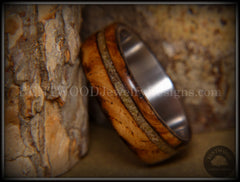 "Bentwood Ring - ""Live Smokey"" Olivewood Ring on Stainless Steel Core with Live Oak Inlay - Bentwood Jewelry Designs - Custom Handcrafted Bentwood Wood Rings"