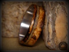 "Bentwood Ring - ""Live Smokey"" Olivewood Ring on Stainless Steel Core with Live Oak Inlay handcrafted bentwood wooden rings wood wedding ring engagement"
