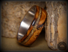 "Bentwood Ring - ""Live Smokey"" Olivewood Ring on Stainless Steel Core with Live Oak Inlay - Bentwood Jewelry Designs - Custom Handcrafted Bentwood Wood Rings  - 5"