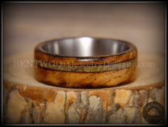 "Bentwood Ring - ""Live Smokey"" Olivewood Ring on Stainless Steel Core with Live Oak Inlay - Bentwood Jewelry Designs - Custom Handcrafted Bentwood Wood Rings  - 6"