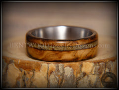 "Bentwood Ring - ""Live Smokey"" Olivewood Ring on Stainless Steel Core with Live Oak Inlay - Bentwood Jewelry Designs - Custom Handcrafted Bentwood Wood Rings  - 3"