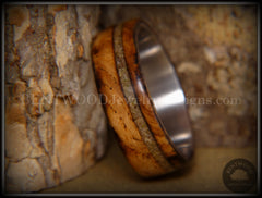 "Bentwood Ring - ""Live Smokey"" Olivewood Ring on Stainless Steel Core with Live Oak Inlay - Bentwood Jewelry Designs - Custom Handcrafted Bentwood Wood Rings  - 4"