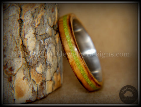 "Bentwood Ring - ""Inlaid Ole Smoky"" Olive Wood Ring with Green Apple Turquoise Inlay on Surgical Steel"