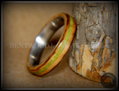 "Bentwood Ring - ""Inlaid Ole Smoky"" Olive Wood Ring with Green Apple Turquoise Inlay on Surgical Steel handcrafted bentwood wooden rings wood wedding ring engagement"