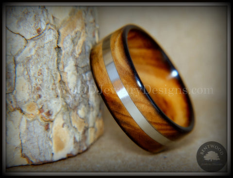 "Bentwood Ring - ""Ole Smoky Silver"" Olive Wood Ring Silver Inlay"