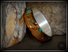 "Bentwood Ring - ""Random Smoky"" Olivewood Silver Core with Copper and Turquoise Inlays handcrafted bentwood wooden rings wood wedding ring engagement"