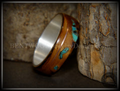 "Bentwood Ring - ""Random Smoky"" Olivewood Silver Core with Copper and Turquoise Inlays"