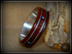 "Bentwood Ring - ""Frets"" Padauk on Titanium Core with Walnut Fret Inlay and Turquoise Dot Inlay handcrafted bentwood wooden rings wood wedding ring engagement"