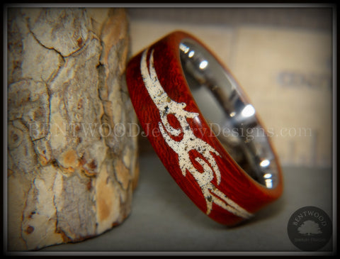 "Bentwood Ring - ""Tribal"" African Padauk on Titanium Core with Tribal Symbol Cape Town Beach Sand Inlay"