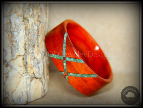 "Bentwood Ring - ""Routes"" African Padauk Wood Ring with Verdite Inlay"