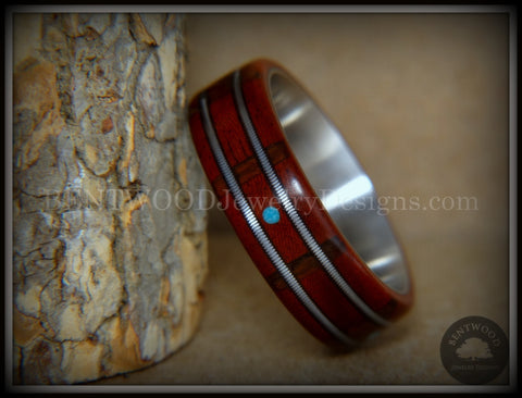 "Bentwood Ring - ""Tracks Melody"" Padauk on Titanium Core with Walnut Fret Inlay and Turquoise Dot Inlay"
