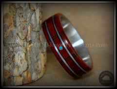 "Bentwood Ring - ""Tracks Melody"" Padauk on Titanium Core with Walnut Fret Inlay and Turquoise Dot Inlay handcrafted bentwood wooden rings wood wedding ring engagement"