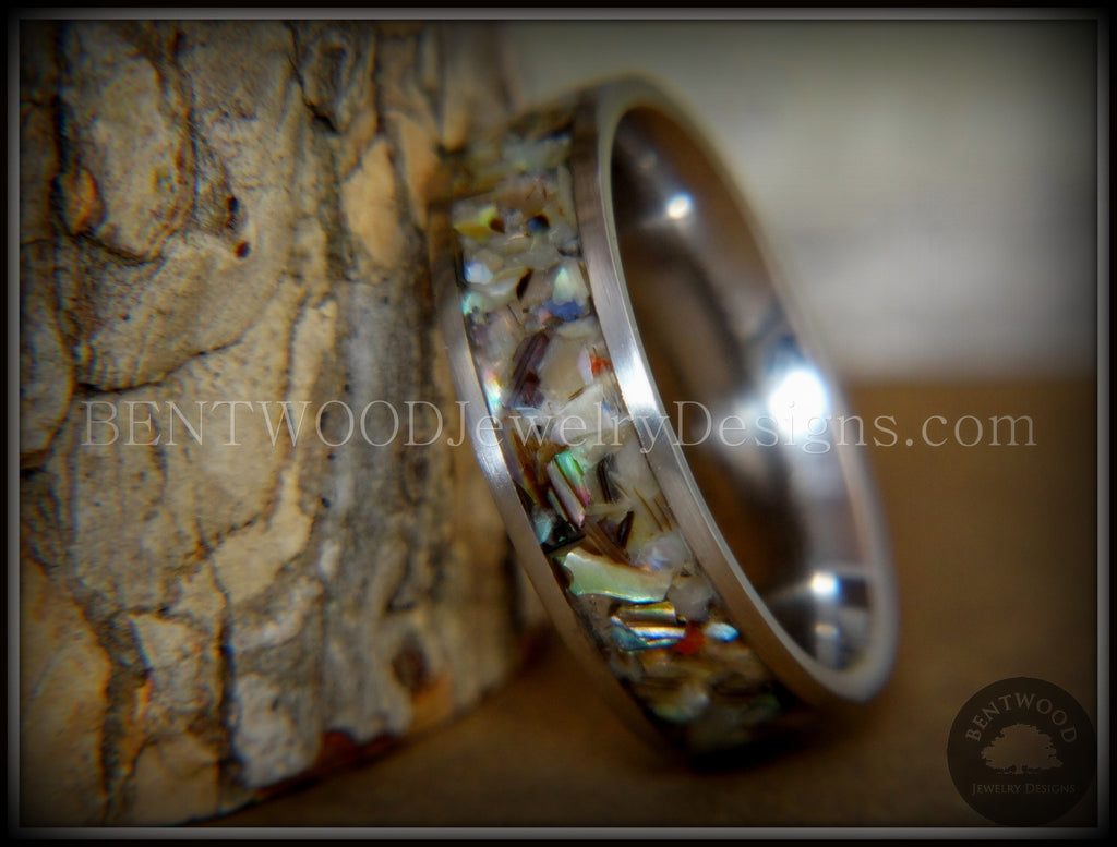 "Bentwood Ring - ""Paua"" Shell on Surgical Grade Stainless Steel Comfort Fit Metal Core - Bentwood Jewelry Designs - Custom Handcrafted Bentwood Wood Rings  - 1"