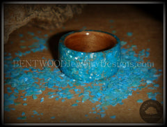 Bentwood Rings - Australian Red Gum Wood Ring with Full Turquoise Mother of Pearl Inlay - Bentwood Jewelry Designs - Custom Handcrafted Bentwood Wood Rings  - 5