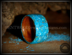 Bentwood Rings - Australian Red Gum Wood Ring with Full Turquoise Mother of Pearl Inlay - Bentwood Jewelry Designs - Custom Handcrafted Bentwood Wood Rings  - 2