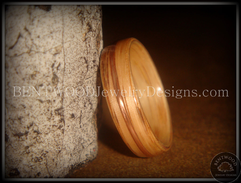 Bentwood Ring - Red Oak Wood Ring with Copper Inlay - Bentwood Jewelry Designs - Custom Handcrafted Bentwood Wood Rings  - 1