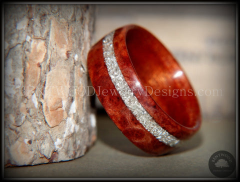 "Bentwood Ring - ""Sequoia"" Redwood Burl Wood Ring with Silver Glass Inlay"