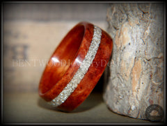 "Bentwood Ring - ""Sequoia"" Redwood Burl Wood Ring with Silver Glass Inlay - Bentwood Jewelry Designs - Custom Handcrafted Bentwood Wood Rings"