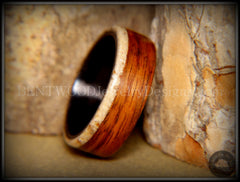 "Bentwood Ring - ""Beaches Edge"" Rosewood Sand Inlay Carbon Fiber Core handcrafted bentwood wooden rings wood wedding ring engagement"