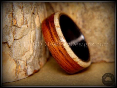 "Bentwood Ring - ""Beaches Edge"" Rosewood Sand Inlay Carbon Fiber Core"