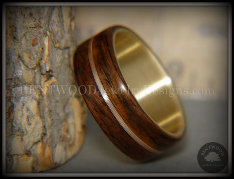 "Bentwood Ring - ""Golden Gate Acoustic"" Rosewood Wood Ring Bronze Acoustic Guitar String Inlay on 14k Solid Yellow Gold Core"