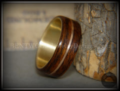 "Bentwood Ring - ""Golden Acoustic"" Rosewood Wood Ring Bronze Acoustic Guitar String Inlay on 14k Solid Yellow Gold Core - Bentwood Jewelry Designs - Custom Handcrafted Bentwood Wood Rings"