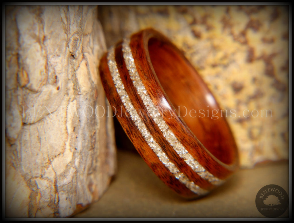 Bentwood Ring - S. American Rosewood Wooden Ring with Double German Silver Glass Inlay handcrafted bentwood wooden rings wood wedding ring engagement