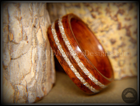 Bentwood Ring - S. American Rosewood Wooden Ring with Double German Silver Glass Inlay