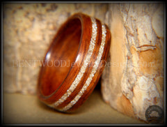 Bentwood Ring - Indian Rosewood Wooden Ring with Double German Silver Glass Inlay - Bentwood Jewelry Designs - Custom Handcrafted Bentwood Wood Rings  - 2
