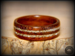 Bentwood Ring - Indian Rosewood Wooden Ring with Double German Silver Glass Inlay - Bentwood Jewelry Designs - Custom Handcrafted Bentwood Wood Rings  - 3