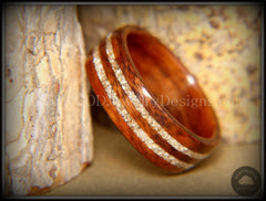 Bentwood Ring - Indian Rosewood Wooden Ring with Double German Silver Glass Inlay - Bentwood Jewelry Designs - Custom Handcrafted Bentwood Wood Rings  - 4