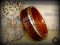 "Bentwood Ring - ""Heavy Acoustic"" Santos Rosewood / Pau Ferro Rosewood Ring with Thick Bronze Guitar String Inlay - Bentwood Jewelry Designs - Custom Handcrafted Bentwood Wood Rings"