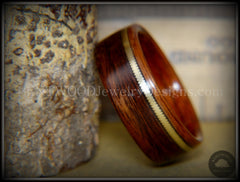 "Bentwood Ring - ""Heavy Acoustic"" Santos Rosewood / Pau Ferro Rosewood Ring with Thick Bronze Guitar String Inlay handcrafted bentwood wooden rings wood wedding ring engagement"