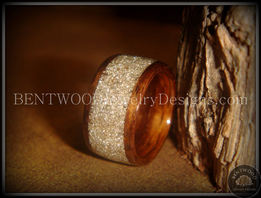 Bentwood Ring - Rosewood Ring with Pulverized Silver Glass Inlay - Bentwood Jewelry Designs - Custom Handcrafted Bentwood Wood Rings
