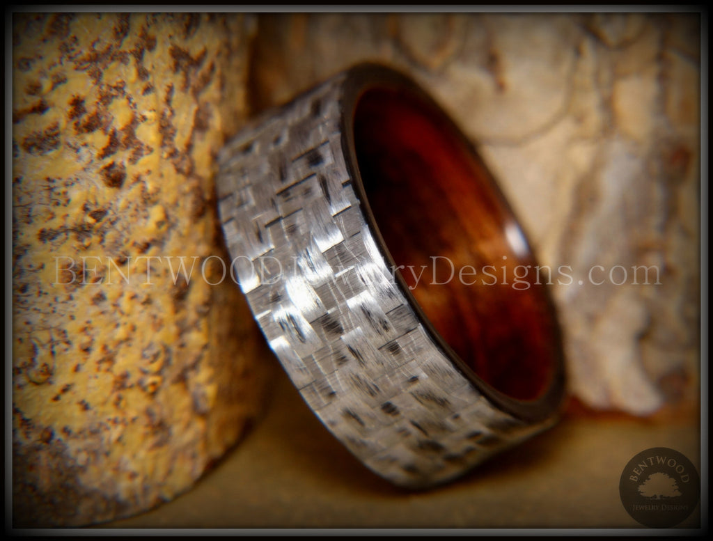 "Bentwood Ring - ""Silver Twill"" Carbon Fiber on Rosewood Wood Comfort Fit Core handcrafted bentwood wooden rings wood wedding ring engagement"