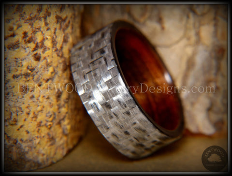 "Bentwood Ring - ""Silver Twill"" Carbon Fiber on Rosewood Wood Comfort Fit Core"