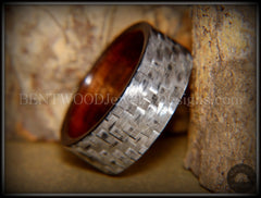 "Bentwood Ring - ""Silver Twill"" Carbon Fiber on Rosewood Wood Comfort Fit Core - Bentwood Jewelry Designs - Custom Handcrafted Bentwood Wood Rings  - 2"