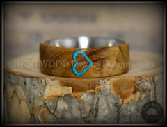 "Bentwood Ring - ""The Heart"" Light Mahogany Sleeping Beauty Turquoise Inlay handcrafted bentwood wooden rings wood wedding ring engagement"