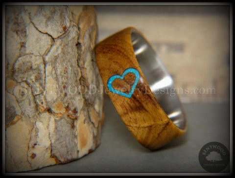 "Bentwood Ring - ""The Heart"" Light Mahogany Sleeping Beauty Turquoise Inlay"