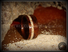 Bentwood Rings - Rosewood Ring with Hawaiian Beach Sand Inlay - Bentwood Jewelry Designs - Custom Handcrafted Bentwood Wood Rings  - 2