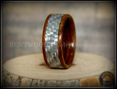 "Bentwood Ring - ""Silver Twill"" Centered Edge Carbon Fiber Rosewood Wood Ring - Bentwood Jewelry Designs - Custom Handcrafted Bentwood Wood Rings"