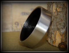 Bentwood Gaboon Ebony Core Ring and Surgical Grade Hypo-Allergenic Stainless Steel Exterior - Bentwood Jewelry Designs - Custom Handcrafted Bentwood Wood Rings  - 6